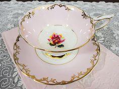 Royal Stafford Pink Rose and Gold Filigree English Bone China