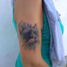 54 cat tattoos that will make you want to get inked. This watercolor cat portrait is absolutely gorgeous.