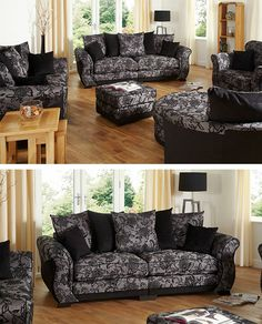 Jessica fabric range #pattern #black #grey