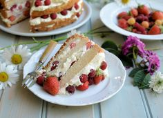 Swedish Midsummer Cake with Berries and Cream.must try this with our fresh June berries this weekend:) Great British Chefs, Loaf Cake, Creative Cakes, Let Them Eat Cake, Cake Recipes, Berries, Brunch, Strawberry, Baking
