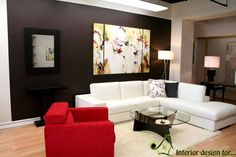 Exquisite Home Interior Decoration Using Frame Wall Decor Ideas : Exciting Image Of Living Room Decoration Using Black Living Room Wall Paint Including Lime Green Floral Frame Wall Decor In Living Room And Round Glass Top Coffee Table