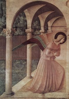 Beato Angelico  (circa 1395–1455), Annunciazione del corridoio nord, dettaglio: l'Angelo annunciante, 1442- 43, affresco,  Museo Nazionale di San Marco, Firenze