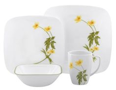 There are fussy floral patterns, and then there's floral flair, and the Corelle Square Round Buttercup Dinnerware - Set of 16 is definitely the latter. Square Dinnerware Set, Dinnerware Sets, Corelle Patterns, Corelle Dishes, Pattern Pictures, Dining Room Inspiration, Stoneware Mugs, Decoration, A Table