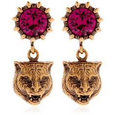 Gucci Women Feline Head & Crystal Earrings (11,475 DOP) ❤ liked on Polyvore featuring jewelry, earrings, fuchsia, earring jewelry, crystal stone jewelry, fuchsia earrings, crystal earrings and fuschia earrings