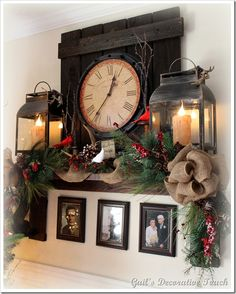 Love the clock idea for all year and the photos below the mantel. The Christmas decos are great for the season.