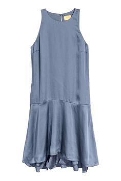 Mouwloze satijnen jurk - Duifblauw - DAMES | H&M NL