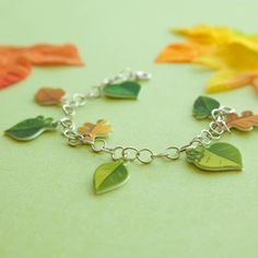 "Print your own set of ""charming"" leaves and turn them into bracelets, hair pins, or zipper pulls for your friends and family!"