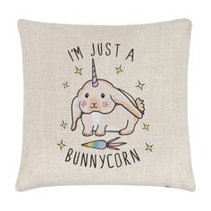 I'm Just A Bunnycorn Linen Cushion Cover - Pillow Funny Bunny Rabbit Unicorn