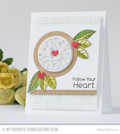 A-Maze-ing Card Kit, Mesh Background, Fancy Flowers Stamp Set and Die-namics, Critter Clan Stamp Set and Die-namics, Stitched Scallop Basic Edges 2 Die-namics - Vika Salmina  #mftstamps