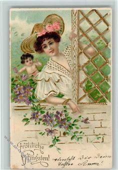 amorengel schaut die schöne Frau an, Golddruck, Hutmode: Ansichtskarten-Center Onlineshop