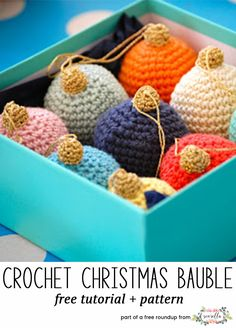 Crochet this easy amigurumi bauble christmas ornament from Greedy for Colour from my free crochet christmas ornaments roundup!