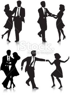 Swing Dancer Silhouettes Royalty Free Stock Vector Art Illustration