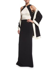 -6J2C St. John Collection  Classic Cady V-Neck Open-Back Gown, Caviar/Alabaster Classic Cady Stretch Wrap, Alabaster/Caviar