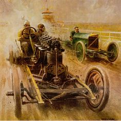 Vintage racing in the dirt Barney Oldfield at right of image driving his Peerless Green Dragon. Bugatti, F1 Posters, Automobile, Landsknecht, Car Illustration, Vintage Race Car, Car Drawings, Automotive Art, Car Painting