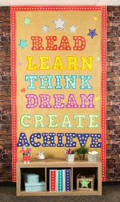 Add an accent wall to your classroom with brick wall paper. Marquee Motivational Bulletin Board. Read, Learn, Think, Create, Dream, Achieve in vibrant colors featuring the classic light letter look. Accent stars available. Not just for the classroom!