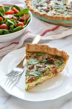 Pesto Quiche with Sundried Tomatoes and Parmesan. Beautiful and healthy too! @WellPlated
