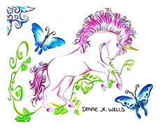 https://flic.kr/p/99uVjX | Unicorn Tattoo Design by Denise A. Wells | A Unicorn Tattoo design I made quite a while ago now...it includes butterflies and vines and is in bright pretty pinks, blues and greens....=D  The following is a link to my Custom Tattoo Designs FAQ's Link - answers to the most comonly asked questions about design requests: blogs.myspace.com/index.cfm?fuseaction=blog.view&frie...  You can contact me for your custom tattoo design at denyceangel_40@yahoo.com ♥♪ ♥¸.•*´¨´...