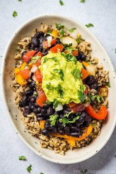 vegan burrito bowl or vegan burritos with quinoa brown rice pico de gallo guacamole and roasted peppers and onions Vegan Bean Recipes, Rice Recipes, Healthy Recipes, Healthy Food, Healthy Sides, Healthy Meals, Salad Recipes, Healthy Eating, Rice