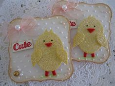 handmade glitter chicks on label die cut .. Cute Chick Embellishments by vsroses.com, via Flickr ...