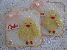 handmade glitter chicks on label die cut .. Cute Chick Embellishments by vsroses.com, via Flickr ...