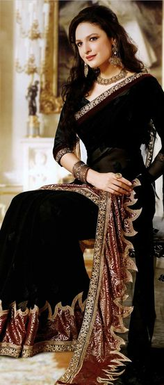 #Black Faux #Georgette #Saree with Blouse @ $61.15