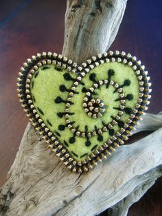 Lime green felt and zipper heart brooch by woollyfabulous on Etsy