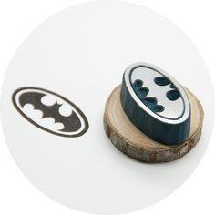 Batman Logo Hand Carved Rubber Stamp, $15
