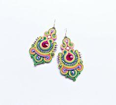 Soutache dangle earrings. Flashy dangle earrings. Bold earrings. Elegant jewelry. Glamour braided jewelry. Soutache Handmade jewelry.