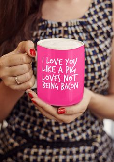 I love you like a pig loves not being bacon mug. Available in different colors. Share the vegetarian/vegan love, perfect for gifts. Click image to purchase Silly Love Quotes, Funny Quotes, Simple Gifts, Easy Gifts, Pig Puns, Pig Images, Cute Crafts, Funny Mugs, Frases