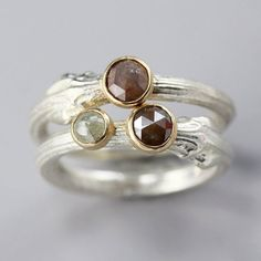Sarah Hood Jewelry.  14k Gold and Sterling Silver Twig Ring Stacking Set with Rose Cut Diamonds