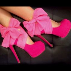 DIY! Pink tights: cut off legs and snip toes.. tie in a bow around your favorite heels VOILA! Instant Awesome