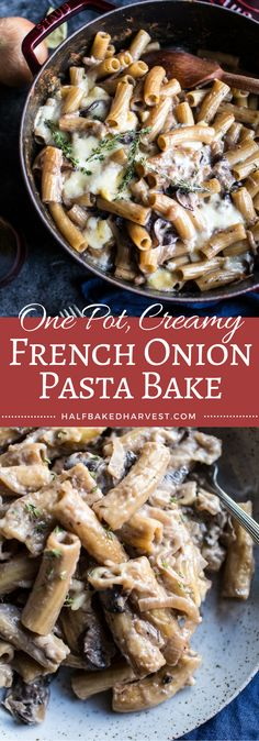 One Pot Creamy French Onion Pasta Bake, the ultimate cold weather comfort food. Think French onion soup with the addition of pasta and melty Gruyere cheese! Pastas Recipes, Veggie Recipes, Cooking Recipes, Healthy Recipes, Pasta Bake Recipes, Vegetarian French Recipes, French Food Recipes, Pasta Recipes For Dinner, Risotto