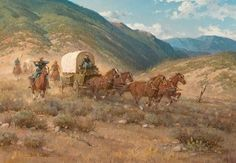 Melvin Warren, Escorting the Supply Wagon Wagon Trails, Western Crafts, Great Western, Ad Art, Old West, Kind Words, Pyrography, Us Army, Artist Art