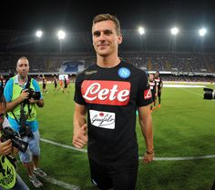 Arkadiusz Milik smiles during the pre-season friendly match between SSC Napoli and OGC Nice at Stadio San Paolo on August 1, 2016 in Naples, Italy.