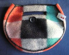 Fulled wool blanket purse.  Love this!  The blanket stitching really makes this.