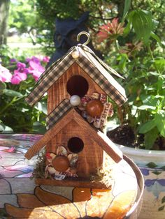 Wooden Rustic Decorted Little Birdhouses.
