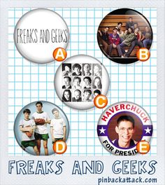 FREAKS and GEEKS Set 1 Geeks Haverchuck for by pinbackattackdotcom, $3.00