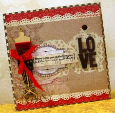 A LOVE card - My Mind's Eye - Lost and Found 2 Collection - Blush & Posy papers
