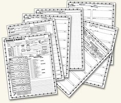Official Character Sheets [Standard, Starter Set