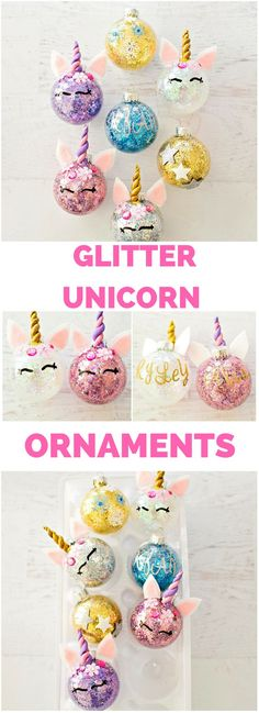 Find out how to easily glitter ornaments and turn… DIY Glitter Unicorn Ornaments. Find out how to easily glitter ornaments and turn them into unicorns. Noel Christmas, Diy Christmas Ornaments, Christmas Balls, Homemade Christmas, Holiday Crafts, Christmas Decorations, Diy Kids Christmas Gifts, Christmas Ideas, Ornaments Ideas