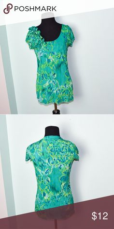 Beautiful Seafoam Green Printed Blouse In excellent condition! Very soft, stretchy, and flattering! Buy 3 items and get 1 free plus 15% off your purchase total! Tops Blouses