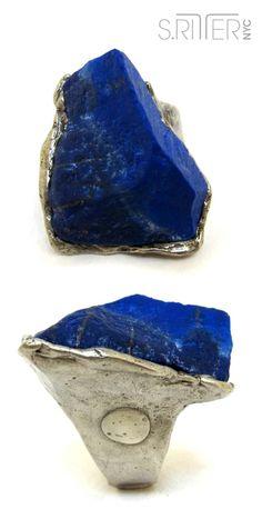 stunning lapis in a razorback, mountain peak summit of blue. || natural stone rings. || SRitterNYC.com