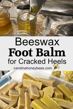 Make your own beeswax foot balm for your tired cracked heels. Beeswax Recipes, Salve Recipes, Soap Recipes, Diy Lotion, Lotion Bars, Limpieza Natural, Honey Recipes, Homemade Beauty Products, Beauty Recipe