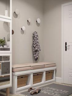 Stylish Apartment Redesign in Minsk – Kallax Ideas 2020 Gray Interior, Interior Design, Flur Design, Diy Design, Design Ideas, Porch Decorating, Design Case, Mudroom, Living Room Decor