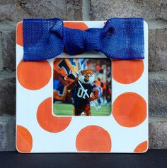 Polka Dot Picture Frame in Orange and Blue  by whogivesacraft28