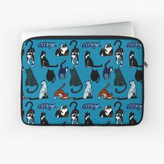 """""""Cat Lovers Teal Pattern"""" Laptop Sleeve by HavenDesign 