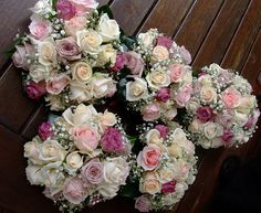 pink rose bouquet with gyp