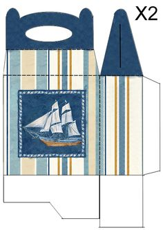 Sailboat gift box / bag.  Print two copies whatever size you need and glue them together.  By JB.