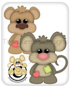 Baby Buddies Bear & Mouse - Treasure Box Designs Patterns & Cutting Files (SVG,WPC,GSD,DXF,AI,JPEG)