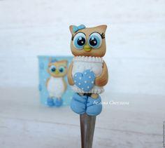 Купить Кружка ложка Совушка 2 - голубой, белый, совушка, сова, мультяшная сова